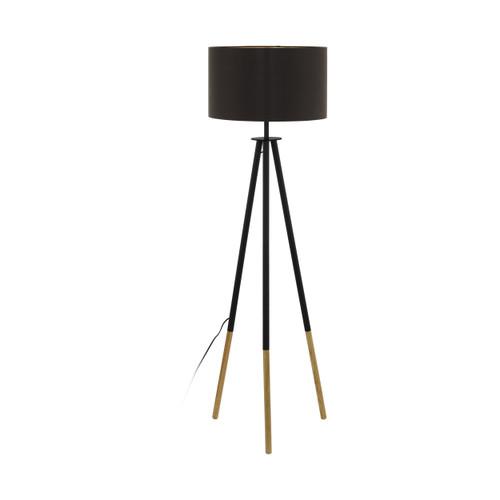 Bidford Black Brown Tripod Floor Lamp
