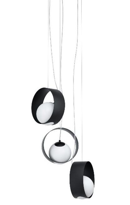 Camargo 3 Rings Black Opal White Modern Cluster Pendant Light