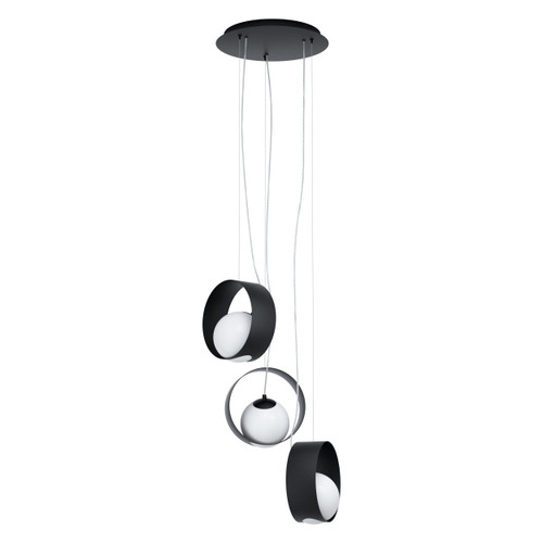 Camargo 3 Rings Black Opal White Modern Cluster Pendant Light