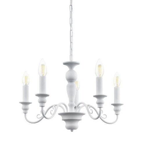 Caposile White 5 Light Candle Pendant Chandelier
