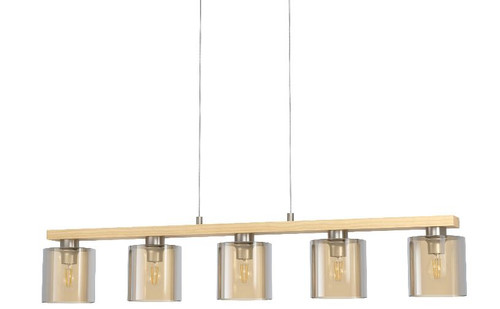 Castralvo Island 5 Light Wood Glass Linear Pendant Light