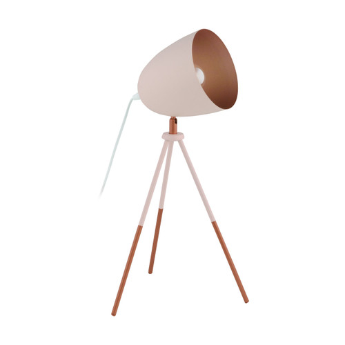 Chester Pastel Apricot Copper Tripod Table Lamp