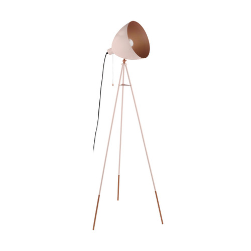 Chester Pastel Apricot Copper Tripod Floor Lamp