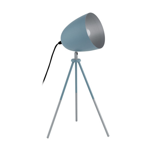Chester Pastel Blue Silver Tripod Table Lamp