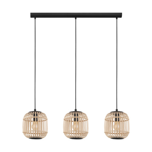 Bordesley 3 Light Natural Wooden Cluster Pendant Light