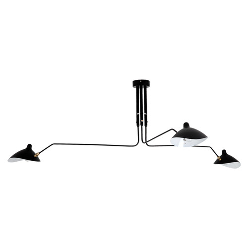 Replica Serge Mouille Three-Arm Ceiling Lamp with Light Off