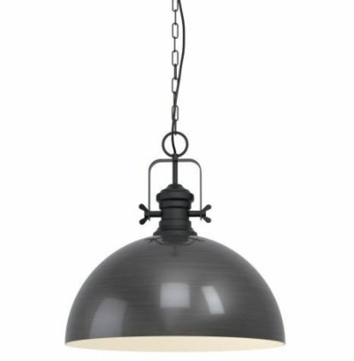Combwich Vintage Dome Black Creme Pendant Light - Large