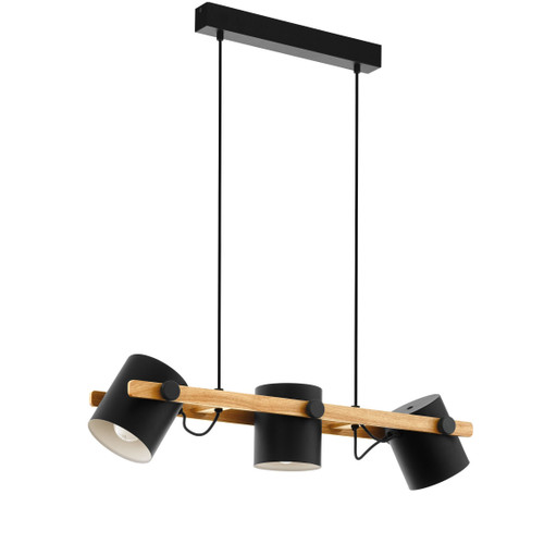 Hornwood 3 Light Black Wood Pendant Light