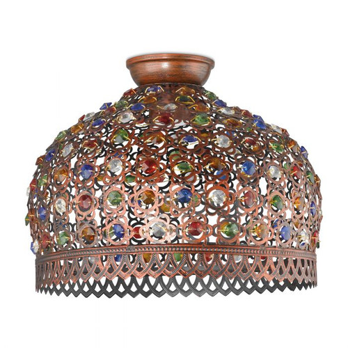 Jadida Mini Moroccan Antique Copper Ceiling Light