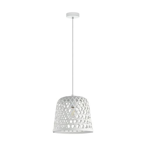 Kirkcolm Rattan Style White Wood Pendant Light
