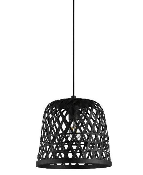 Kirkcolm Rattan Style Black Wood Pendant Light