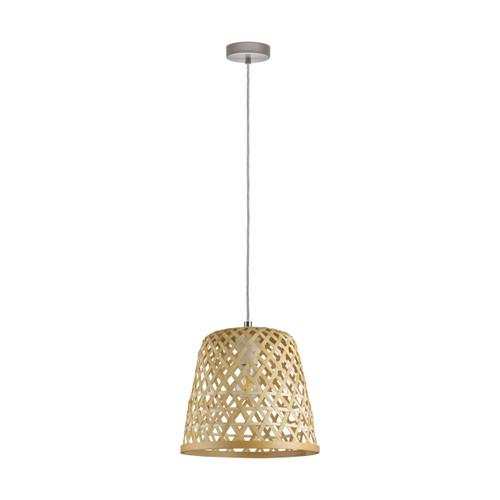 Kirkcolm Rattan Style Natural Wood Pendant Light