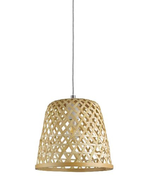 Kirkcolm Rattan Style Natural Wood Pendant Light