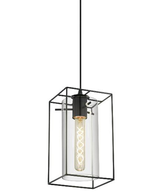 Loncino Black and Smoke Glass Cage Pendant Light