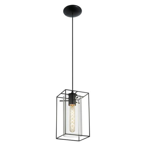 Loncino Black and Smoke Glass Cage Pendant Light