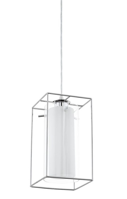 Loncino Chrome and White Glass Cage Pendant Light