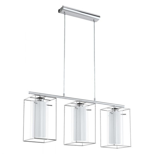 Loncino Chrome and White Glass Cage Linear Pendant Light