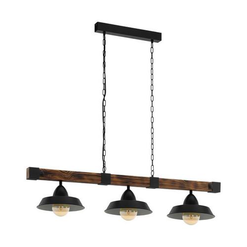 Oldbury 3 Wood Rustic Brown Bar Pendant Light