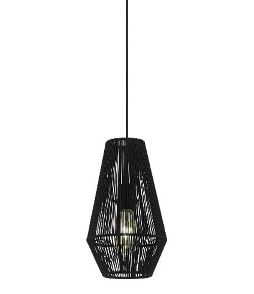 Palmones Narrow Black Fabric Pendant Light