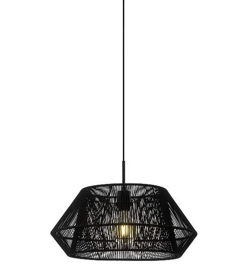 Palmones Wide Black Fabric Pendant Light