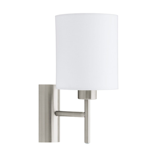 Pasteri Bedside Satin Nickel Wall Light - White Drum Shade