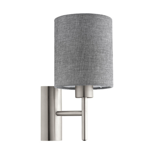 Pasteri Bedside Satin Nickel Wall Light - Grey Drum Shade