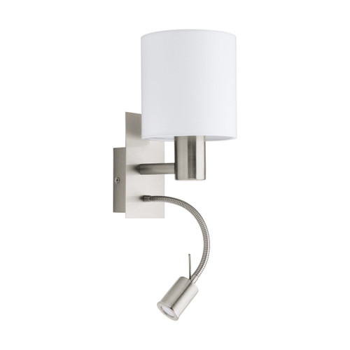 Pasteri Bedside Satin Nickel Wall Reading Lamp - White Drum Shade