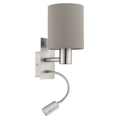Pasteri Bedside Satin Nickel Wall Reading Lamp - Taupe Drum Shade