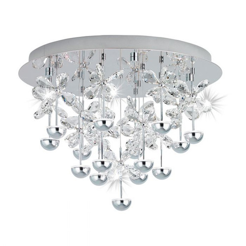 Pianopoli Chrome Crystal Small Close to Ceiling Light