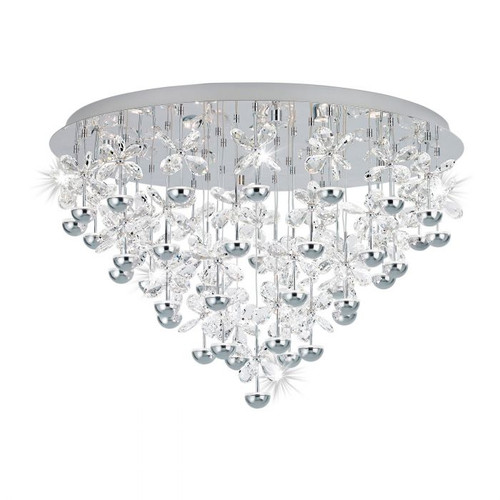 Pianopoli Chrome Crystal Large Close to Ceiling Light