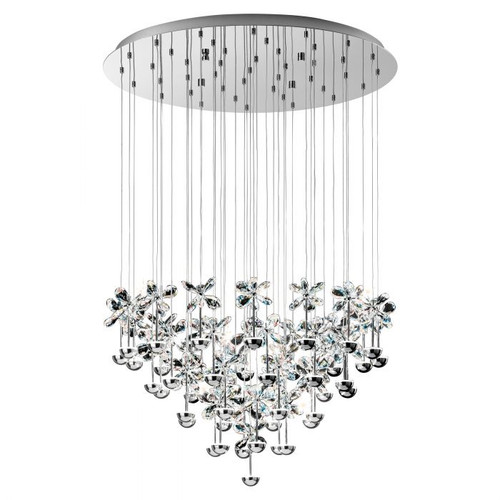Pianopoli Chrome 43 Light Crystal Large Cluster Pendant Chandelier
