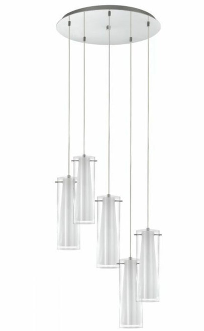 Pinto Chrome Opal 5 Light Tube Cluster Pendant Light