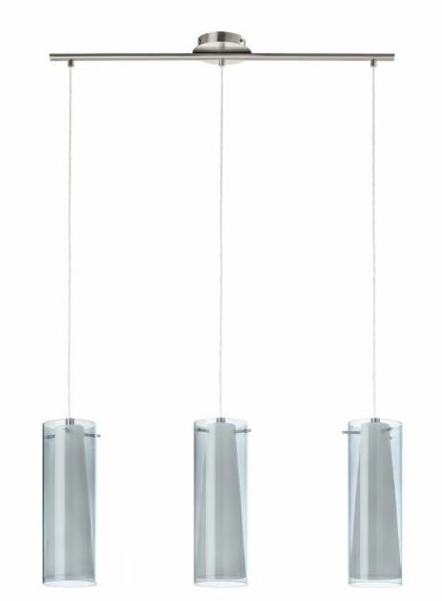 Pinto Nero Nickel Smoke 3 Light Tube Bar Pendant Light