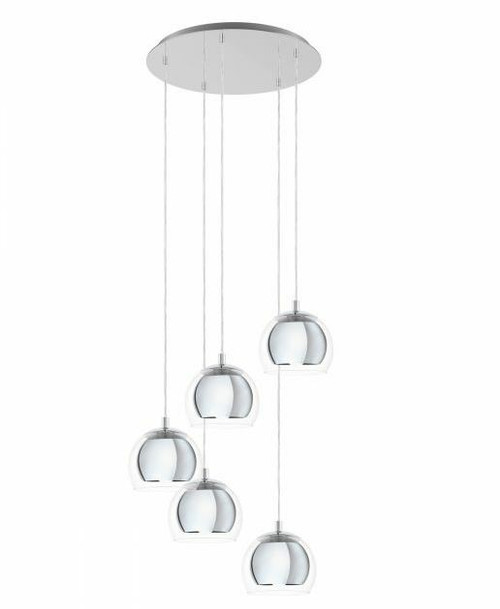 Rocamar 5 Light Chrome Clear Glass Cluster Pendant Light