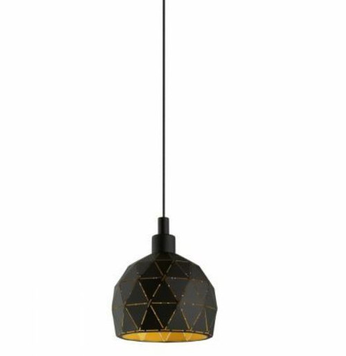 Roccaforte Geometric Black Gold Mini Pendant Light