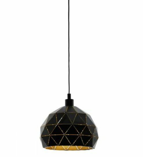Roccaforte Geometric Black Gold Pendant Light