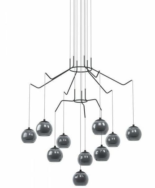 Rovigana 10 Light Round Smoke Glass Modern Pendant Chandelier