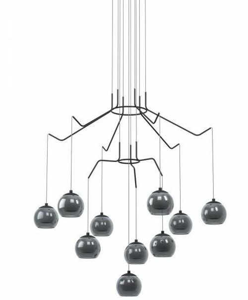 Rovigana 10 Light Round Smoke Glass Modern Pendant Chandelier
