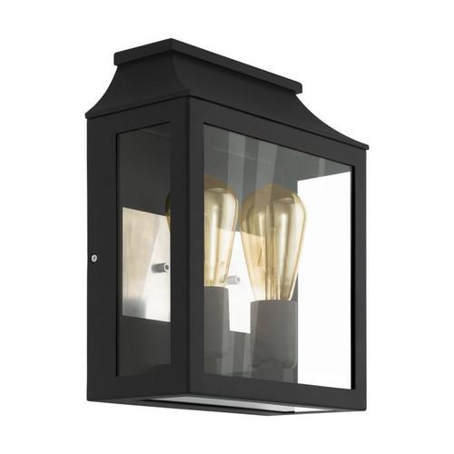 Soncino 2 Light Black Glass Exterior Wall Light