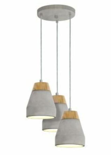 Tarega 3 Light Cone Concrete Cluster Pendant Light