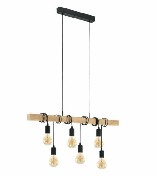 Townshend 6 Light Natural Wooden Linear Pendant Light