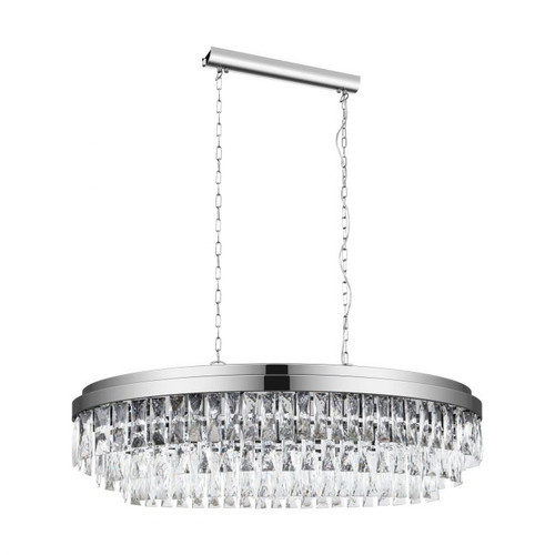 Valparaiso 10 Light Linear Chrome Crystal Pendant Chandelier