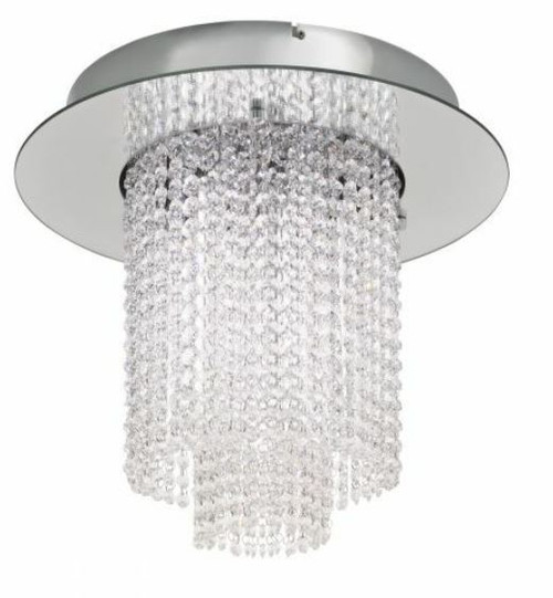 Vilalones Cascading Chrome Crystal Close To Ceiling Light