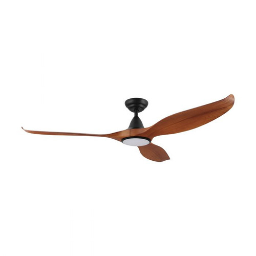 "Noosa 60"" DC ABS Ceiling Fan with LED Light - Teak and Black"