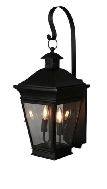 Hudson Black Glass Outdoor Wall Light