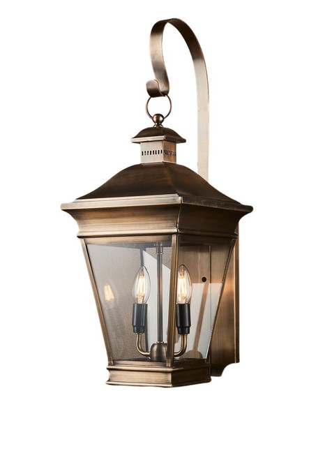 Hudson Brass Glass Outdoor Wall Light
