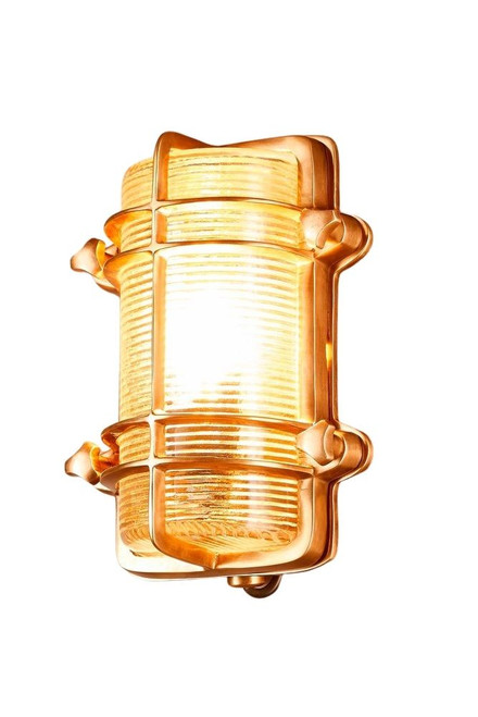 Harvey Antique Brass Glass Outdoor Wall Light