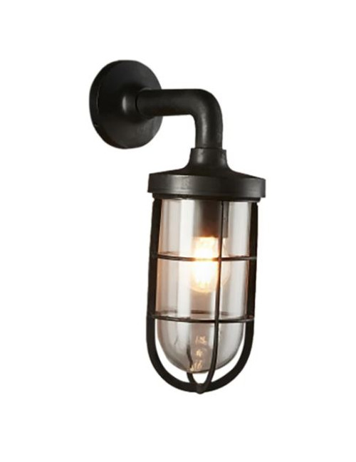 Vanguard Black Glass Outdoor Wall Light