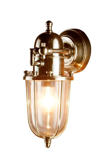 Cadwell Antique Brass Glass Outdoor Wall Light