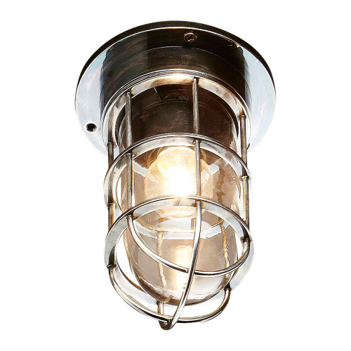 Emelia Antique Silver Glass Outdoor Wall Light